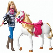 Набор кукла Барби и лошадь Barbie Doll and Tawny White Horse Set and Pink Saddle