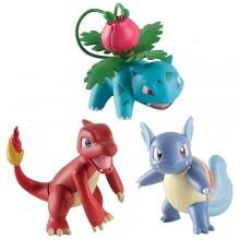 Набор 3 игрушки покемона Pokemon 3 Pack 3 inch Action Figure - Ivysaur, Wartortle, and Charmeleon