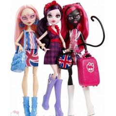 Набор 3 куклы Монстер Хай Ghoulebrities in London Элизабет Кетти Нуар и Вайперина