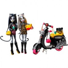 Набор 2 куклы Монстер Хай Мяулодия и Мурсифона и скутер Monster High Werecats Sisters Meowlody & Purrsephone  and Scooter
