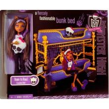 Набор с куклой Клодин Вульф и кроватью, серия Пижамная вечеринка Monster High Dead Tired Clawdeen Wolf Doll And Bed Playset